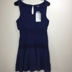 Lily Rose Sun Dress Summer Blue Sleeveless Med
